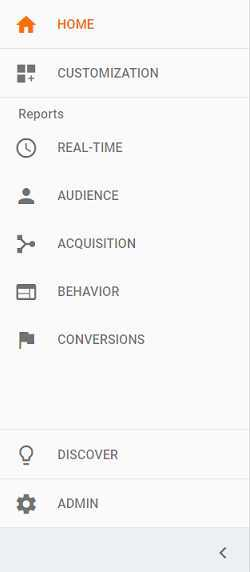 google analytics sidebar menu